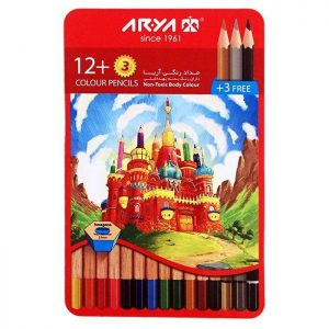 مداد رنگی 3+12 رنگ آریا مدل قصر