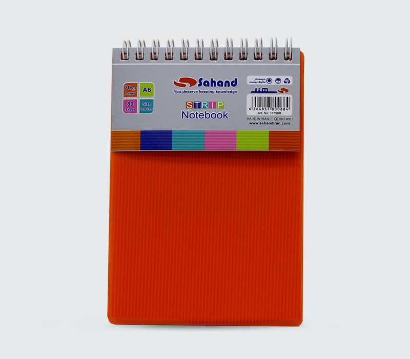 دفتر یادداشت ۸۰ برگ سایز A6 مدل استریپ